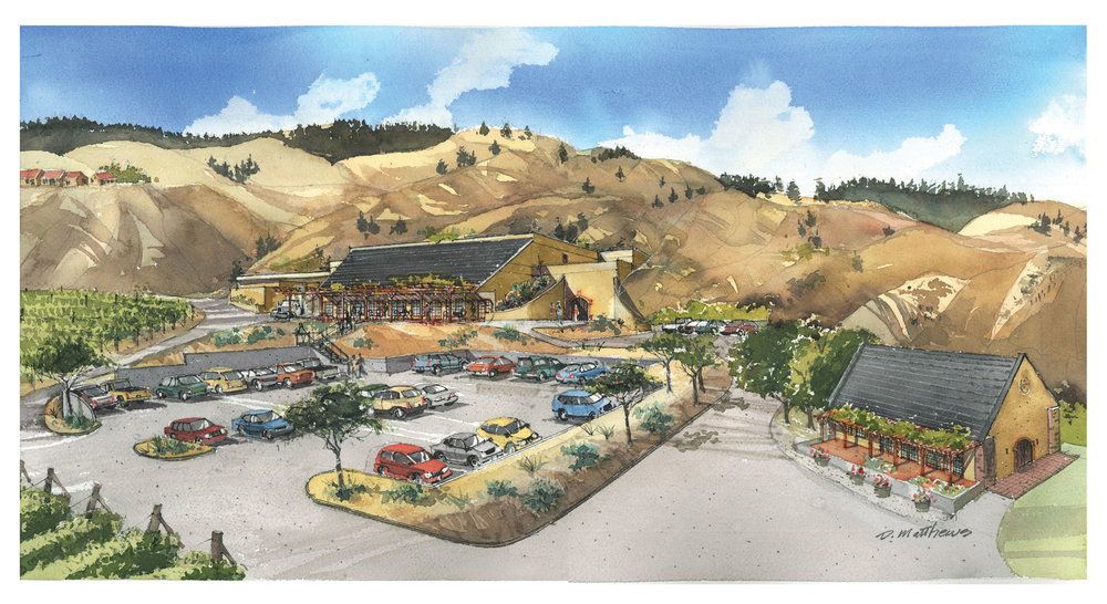 Hester Creek Winery architectural rendering by Dale Matthews